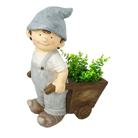 Boy Pushing Wheel Barrow Garden Planter