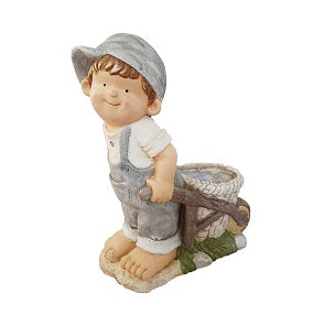 Boy In Grey Dungarees Pulling Cart Garden Planter