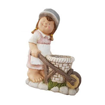 Girl In White Bib Pushing Cart Garden Planter