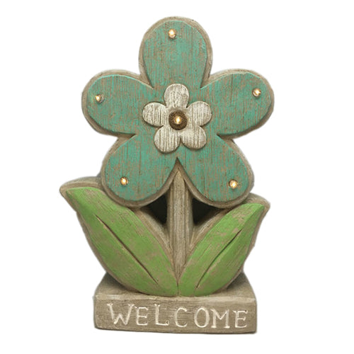 Solar Powered Flower Welcome Sign