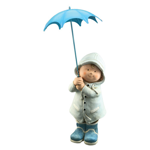 Boy With Blue Umbrella Garden Ornament