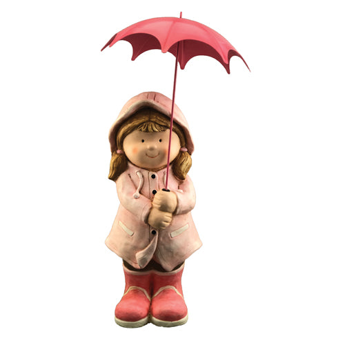 Girl With Pink Umbrella Garden Ornament