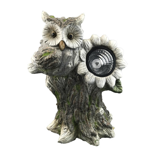 Solar Powered Owl Standing On Tree Stump Garden Ornament