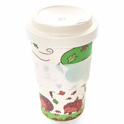 ECO CHIC BAMBOO REUSABLE COFFEE CUP, HEDGEHOGS
