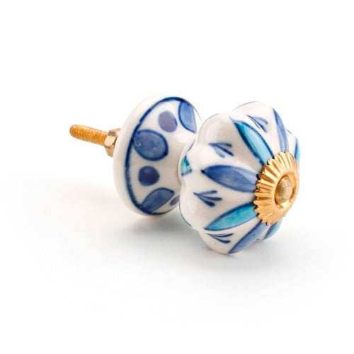 Ceramic Drawer Knob, Blue/White Petal