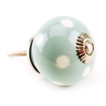 Polka Dot Ceramic Drawer Knob, Duck Egg Blue