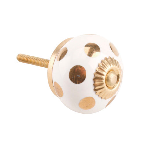 Gold Polka Dot Ceramic Drawer Knob