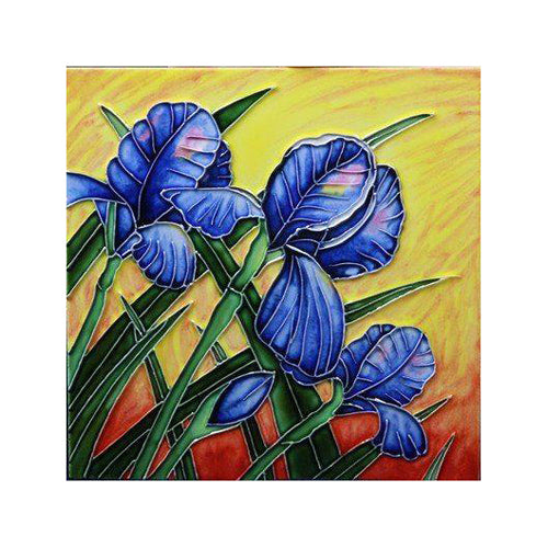 "Benaya Art Ceramic Tiles 'Iris Bloom', 8"" x 8"""