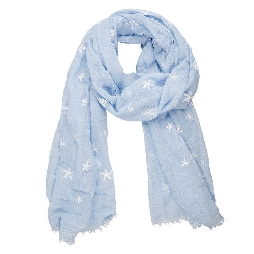 Heavenly Stars Scarf, 70cm x 180cm, Blue