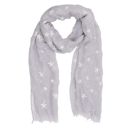 Heavenly Stars Scarf, 70cm x 180cm, Grey