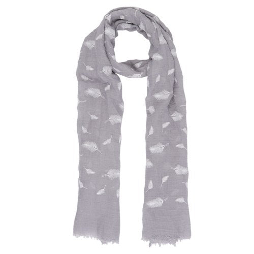 Feathers Scarf, 70cm x 180cm, Grey