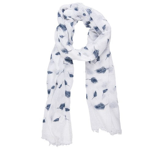 Feathers Scarf, 70cm x 180cm, White
