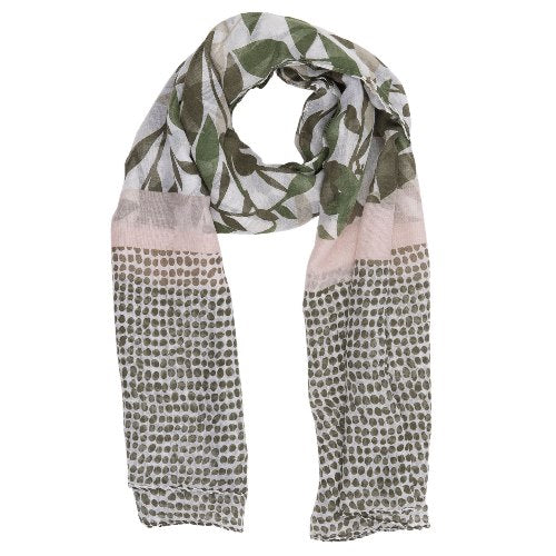 Dots & Flowers Scarf, 80cm x 180cm, Green