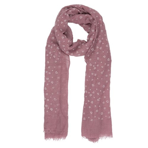Hearts Scarf, 70cm x 180cm, Pink