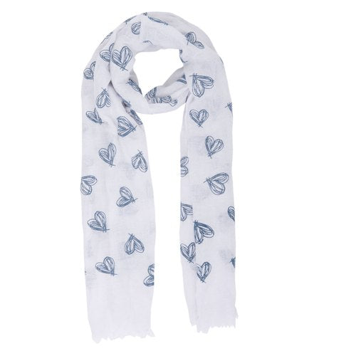 Sketched Hearts Scarf, 70cm x 180cm, White