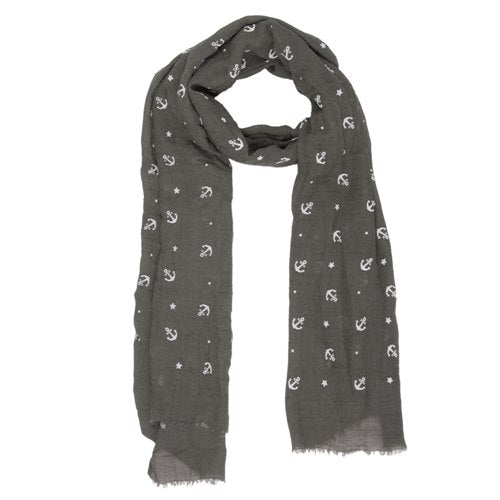 Anchors & Stars Scarf, 70cm x 180cm, Grey