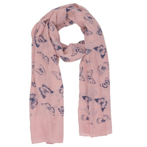 Butterfly Scarf, 80cm x 180cm, Pink