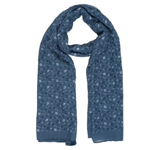 Lovely Flowers Scarf, 80cm x 180cm, Blue
