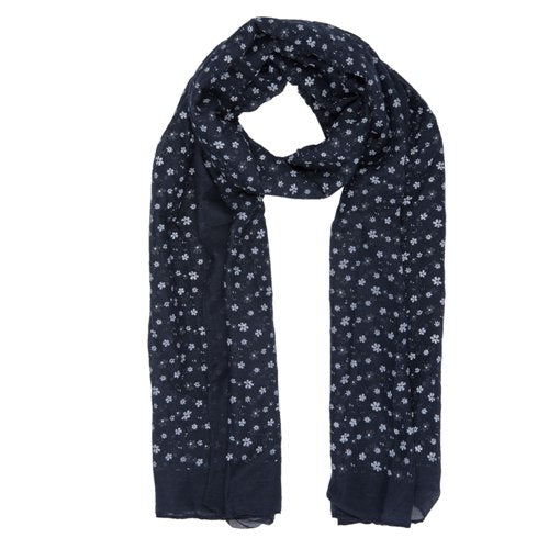 Lovely Flowers Scarf, 80cm x 180cm, Dark Blue