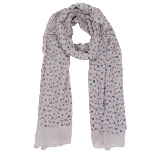 Lovely Flowers Scarf, 80cm x 180cm, Grey