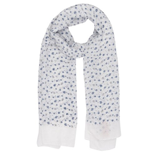 Lovely Flowers Scarf, 80cm x 180cm, White