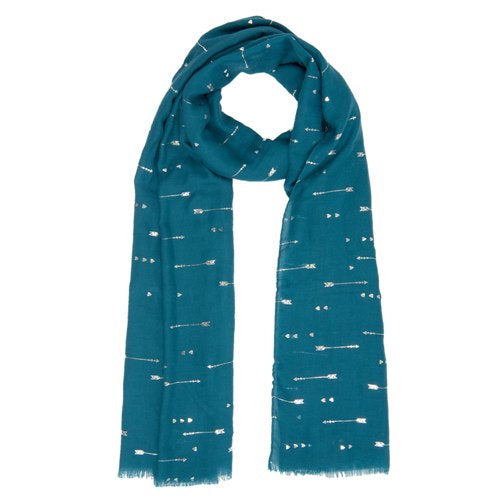 Hearts & Arrows Scarf, 70cm x 180cm, Petrol