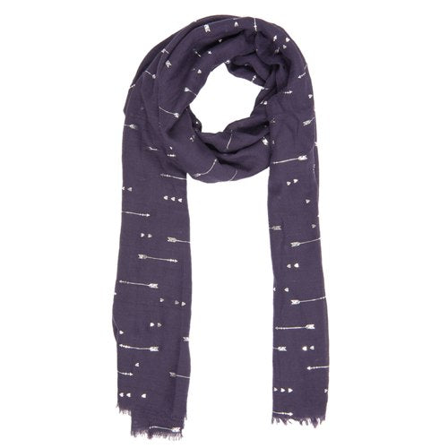 Hearts & Arrows Scarf, 70cm x 180cm, Dark Blue