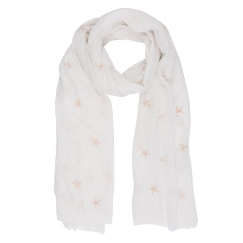 Heavenly Stars Scarf, 70cm x 180cm, White