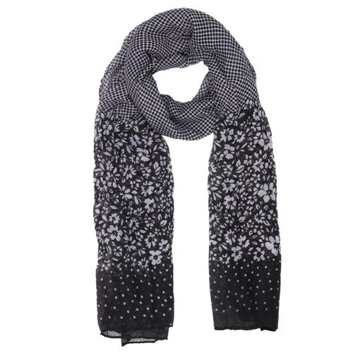 Little Flowers Scarf, 80cm x 180cm, Black