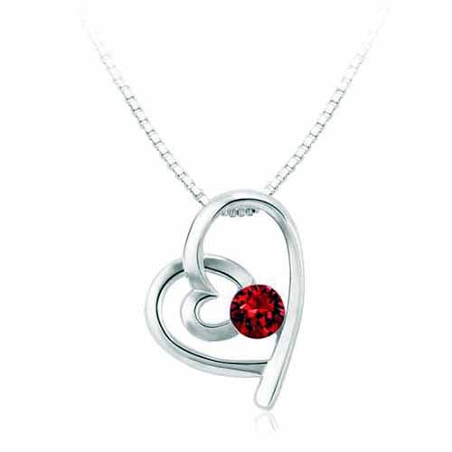 Swarovski Heart Birthstone Pendant, January/Garnet