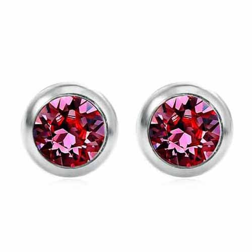 Swarovski Birthstone Stud Earrings, July/Ruby