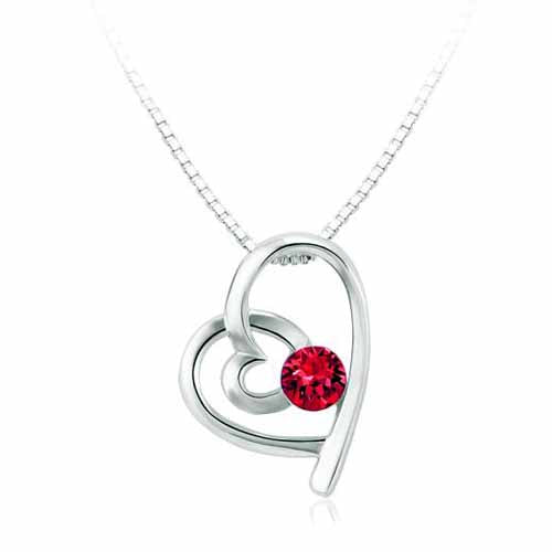 Swarovski Heart Birthstone Pendant, July/Ruby