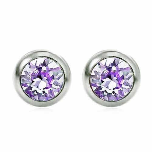Swarovski Birthstone Stud Earrings, June/Alexandrite