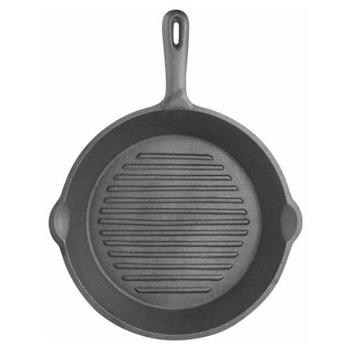 Deluxe Cast Iron Round Ribbed Grill Pan, 24cm
