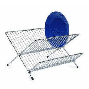 Chrome Plated Fold Away Dish Drainer, Small