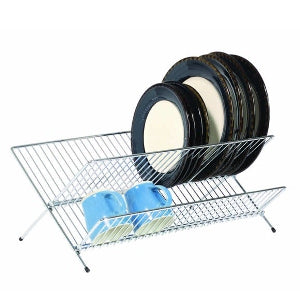 Chrome Plated Fold Away Dish Drainer, Large