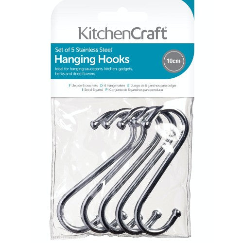 Chrome Plated 'S' Hooks, 10cm, Pack of 5