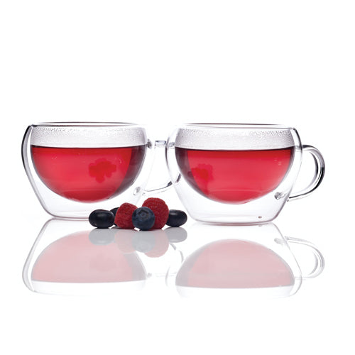 Double Walled Glass Tea Cups, Set Of 2