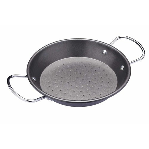 KitchenCraft World of Flavours Carbon Steel Paella Pan, 22cm