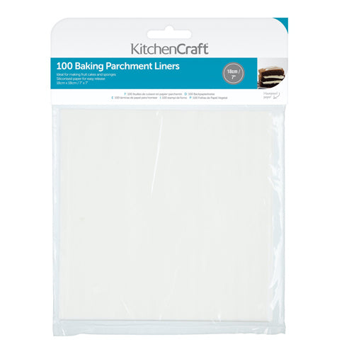 Square Siliconised Baking Papers, 18cm