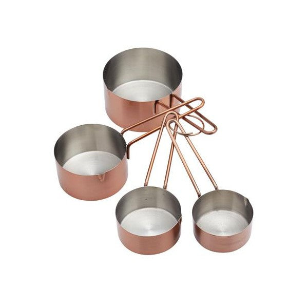 Stainless Steel & Copper Measuring Cups, Set Of 4