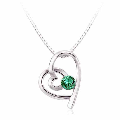 Swarovski Heart Birthstone Pendant, May/Emerald
