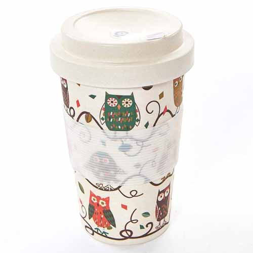 ECO CHIC BAMBOO REUSABLE COFFEE CUP, OWLS
