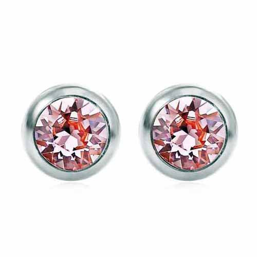 Swarovski Birthstone Stud Earrings, October/Light Rose