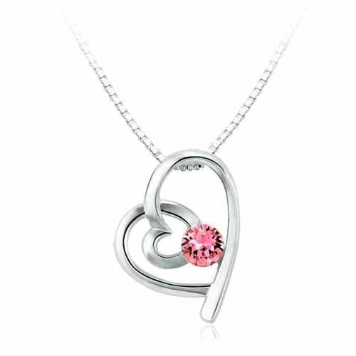 Swarovski Heart Birthstone Pendant, October/Light Rose