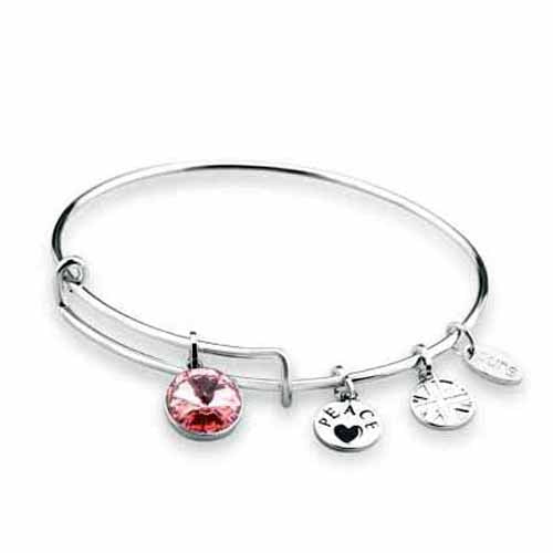 Swarovski Birthstone Bangle, October/Light Rose