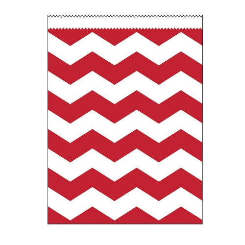 Large Paper Treat Chevron Bag, Red