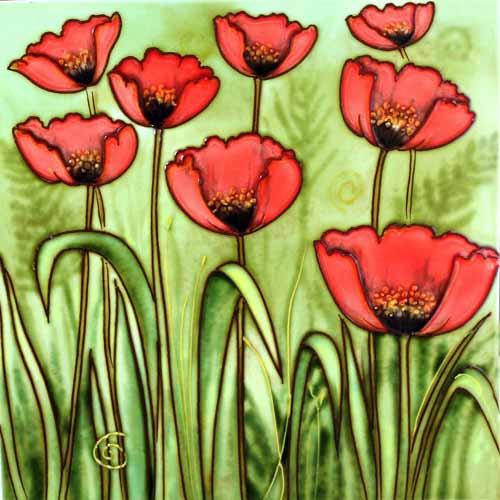 "Benaya Art Ceramic Tiles 'Poppies', 12"" x 12"""