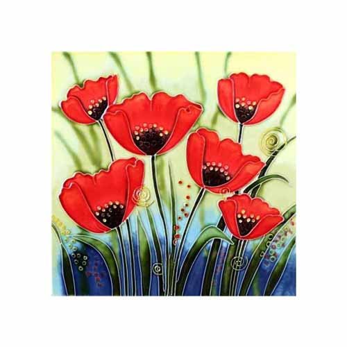 "Benaya Art Ceramic Tiles 'Poppy Group', 8"" x 8"""