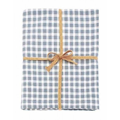 Walton & Co Portland Check Tablecloth, 130cm x 230cm, Blue Cedar